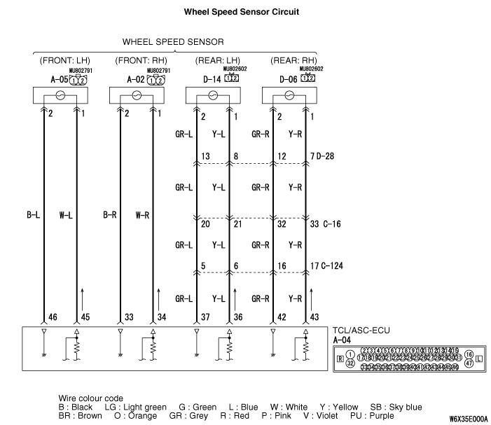 Code No C1200: Front Right Wheel Speed Sensor (Open Circuit