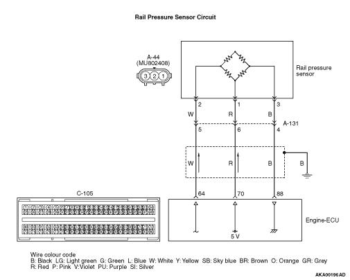 Code No. P0192: Rail Pressure Sensor Circuit Low Input Rail Pressure Wiring Diagram on