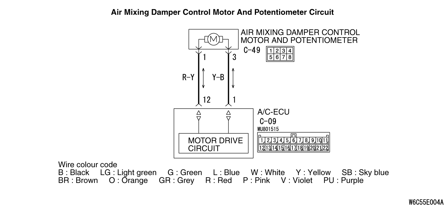 Code Nob1045 Motor Drive System For The Air Mixing Damper Ac Potentiometer Wiring