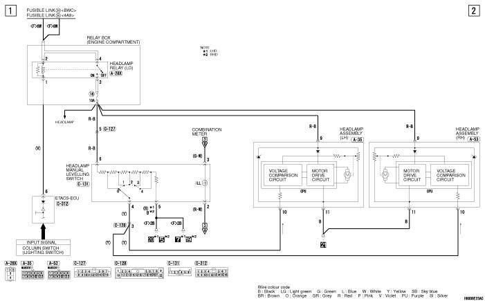 mmc Lancer X 2008 фары MANUAL LEVELLING SYSTEM