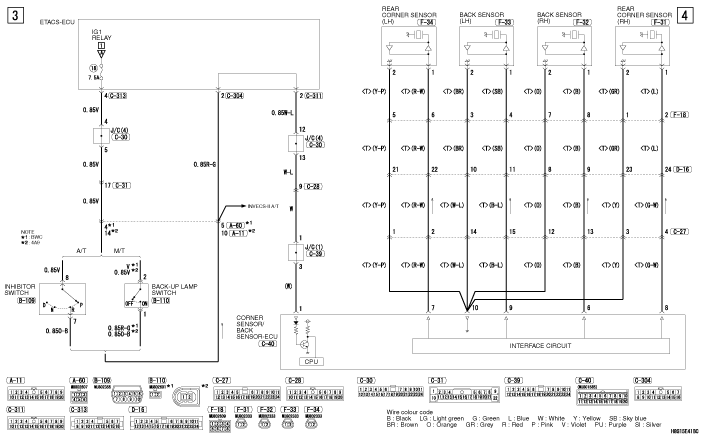mmc Lancer X 2008 REVERSING SENSOR SYSTEM