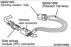 Code No B1422 Right side-airbag module (squib) system
